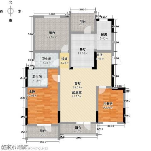金地滟澜山3室2厅1卫0厨118.00㎡户型图