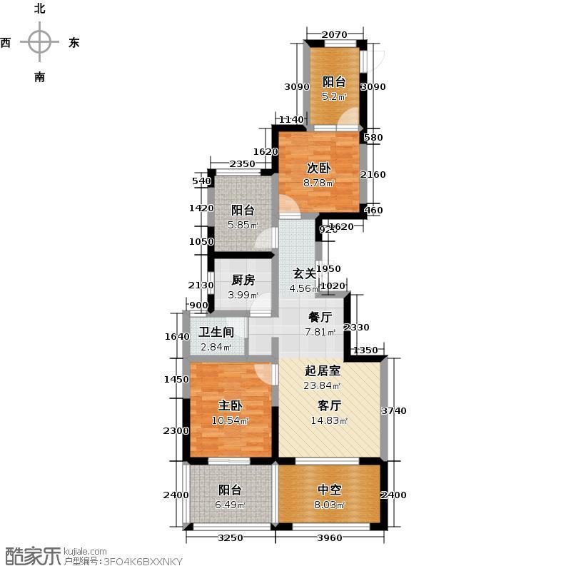 世茂西西湖89.00㎡15号楼1单元02室奇数层户型2室2厅1卫