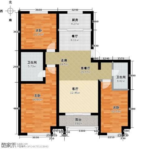 公园里3室2厅2卫0厨122.00㎡户型图