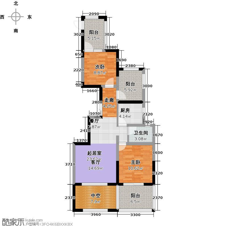 世茂西西湖89.00㎡15号楼2单元01室户型2室2厅1卫