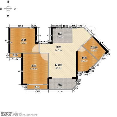 新余恒大城2室2厅1卫0厨82.00㎡户型图
