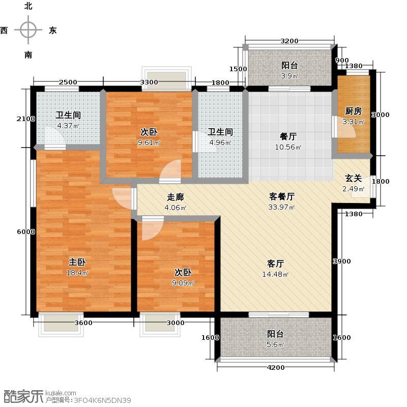 东津世纪城137.00㎡B1户型3室2厅2卫