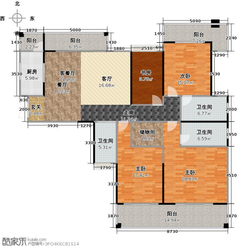 越秀星汇城184.00㎡E户型4室2厅3卫