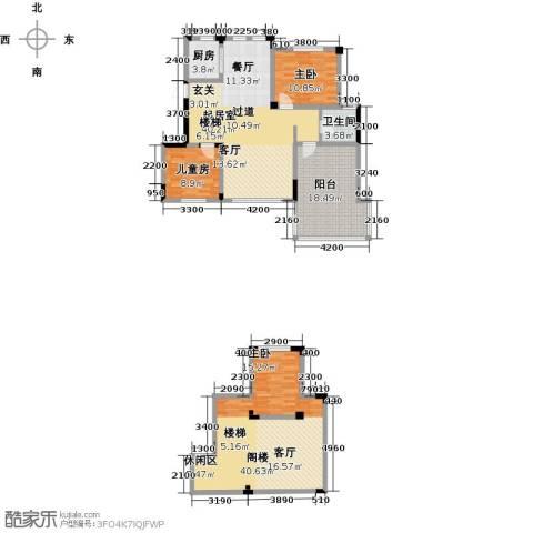 金地滟澜山3室2厅1卫0厨126.56㎡户型图