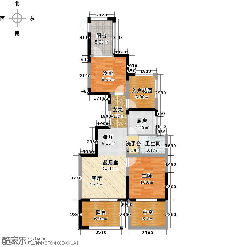 世茂西西湖89.00㎡15号楼2单元01室奇数层户型2室2厅1卫