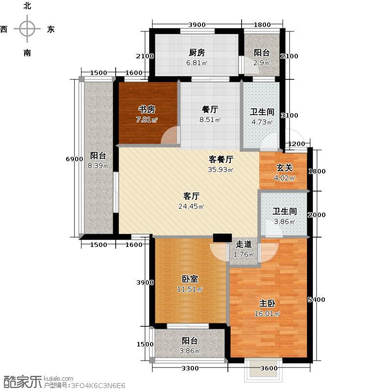 广厦天都城爱尚公寓114.51㎡A户型2室1厅2卫1厨