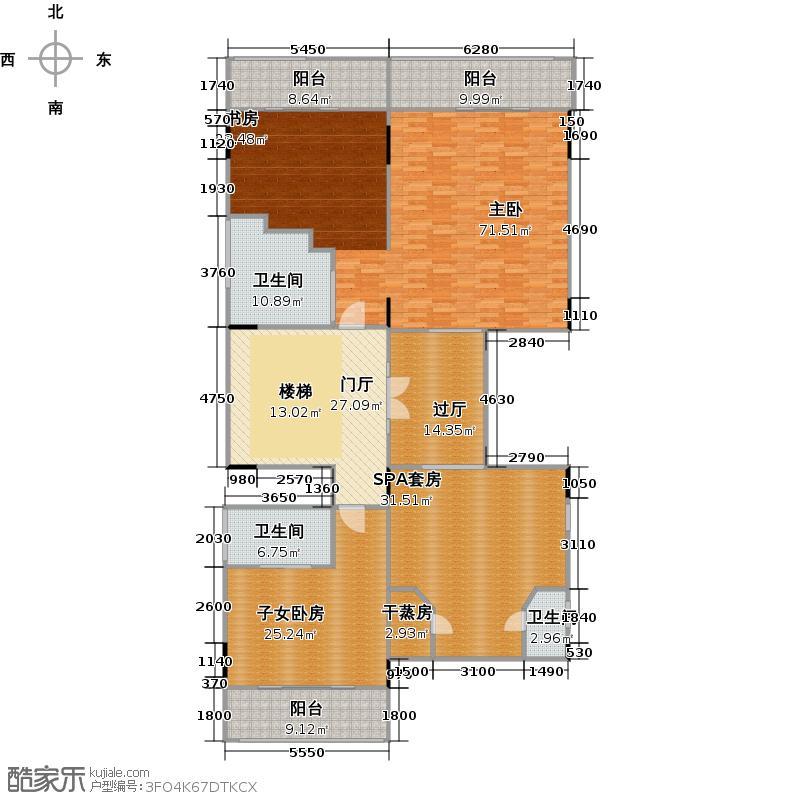 颐和高尔夫庄园234.14㎡独栋主居三层户型10室