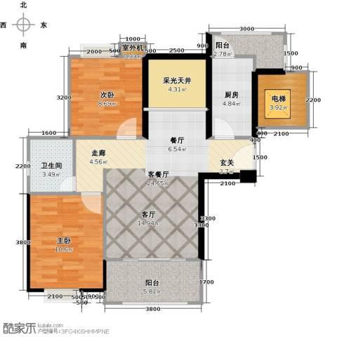 中誉南岸公馆2室2厅1卫0厨86.00㎡户型图
