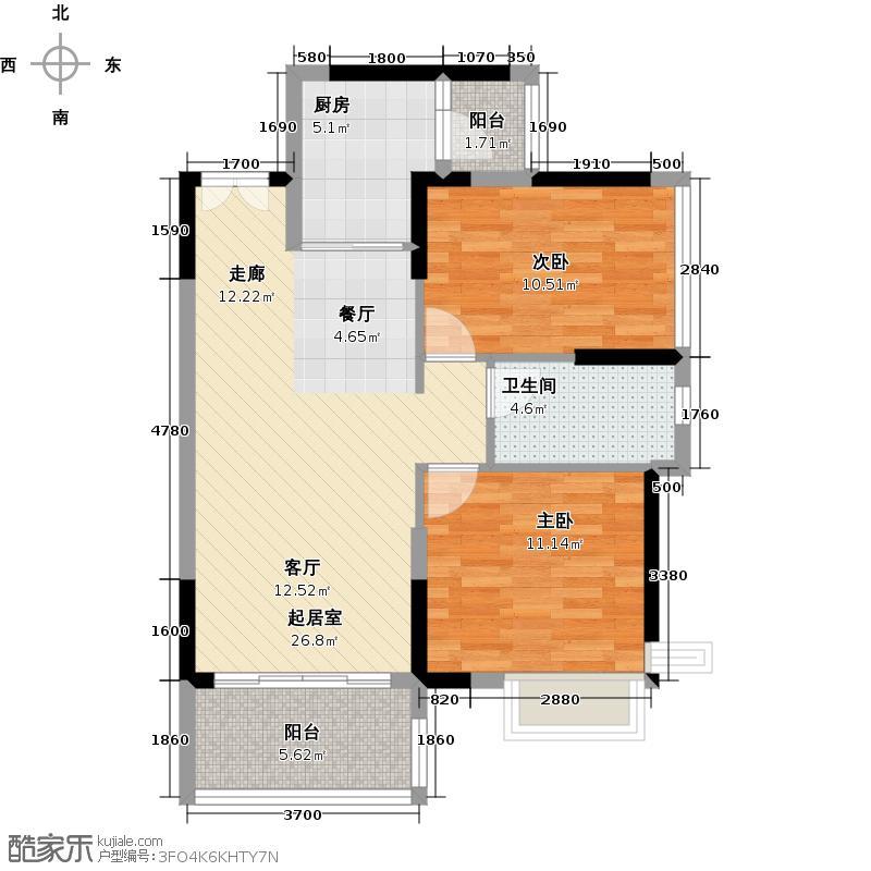 越秀・可逸阳光82.00㎡B1栋4-10层01单元户型2室2厅1卫