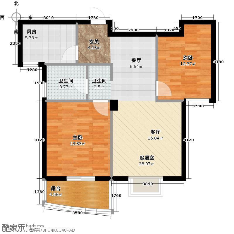广厦天都城爱尚公寓74.26㎡&nbsp&nbspC2奇数层户型2室1卫1厨