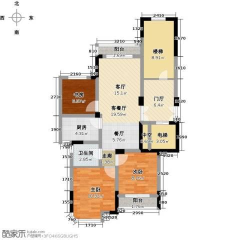 东润枫华3室1厅1卫1厨88.00㎡户型图