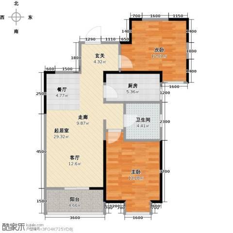 名湖豪庭2室2厅1卫0厨95.00㎡户型图