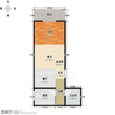 哈佛印象1室2厅1卫0厨65.00㎡户型图