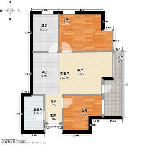 丽都新城二期爱丽香舍2室2厅1卫0厨69.00㎡户型图