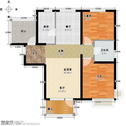 金隅・观澜时代2室2厅1卫0厨92.00㎡户型图