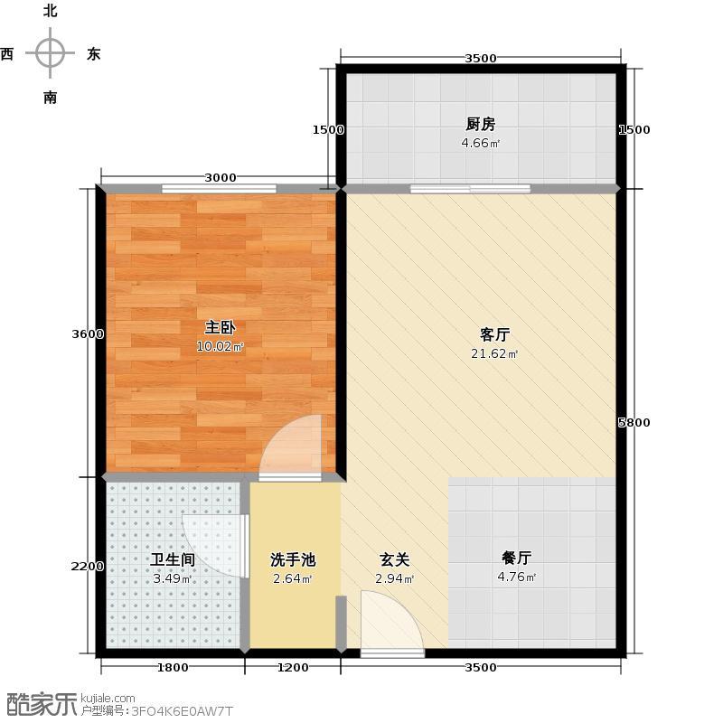 哈佛印象53.82㎡E-1户型1室2厅1卫