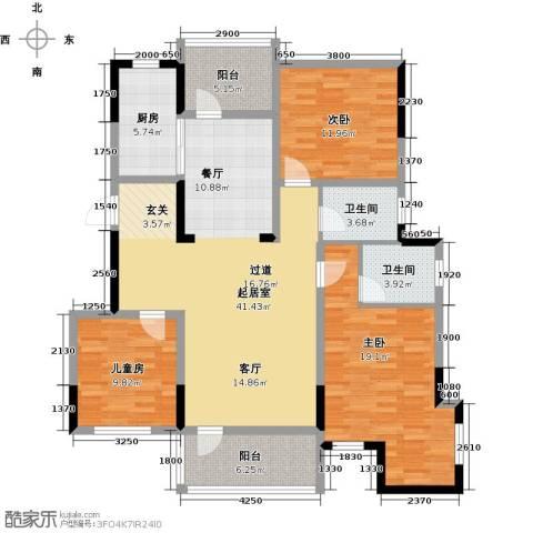 金地滟澜山3室2厅2卫0厨113.00㎡户型图