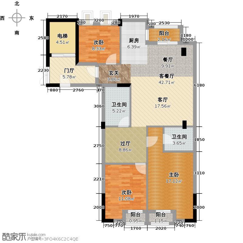 郡原九衡公寓116.00㎡户型3室2厅2卫