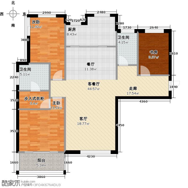 红星海世界观140.00㎡青屿蓝16#高层户型3室1厅2卫1厨