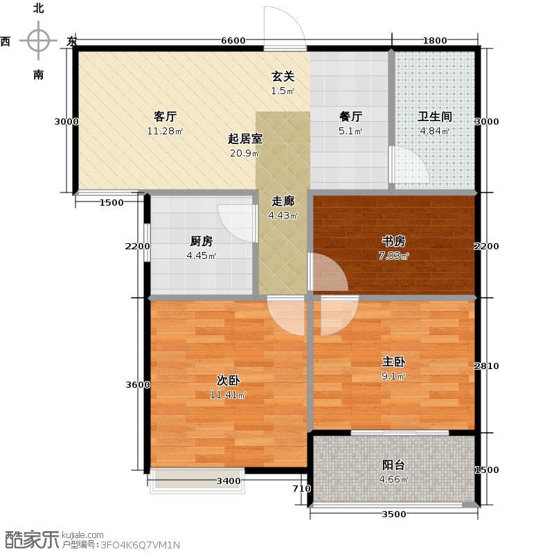 紫韵公寓78.00㎡C8户型3室2厅2卫