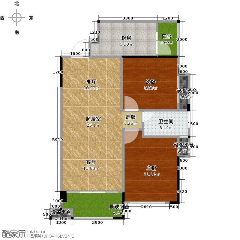 东方润园74.00㎡2、3栋1单元103-18032单元104-1804户型2室2厅1卫