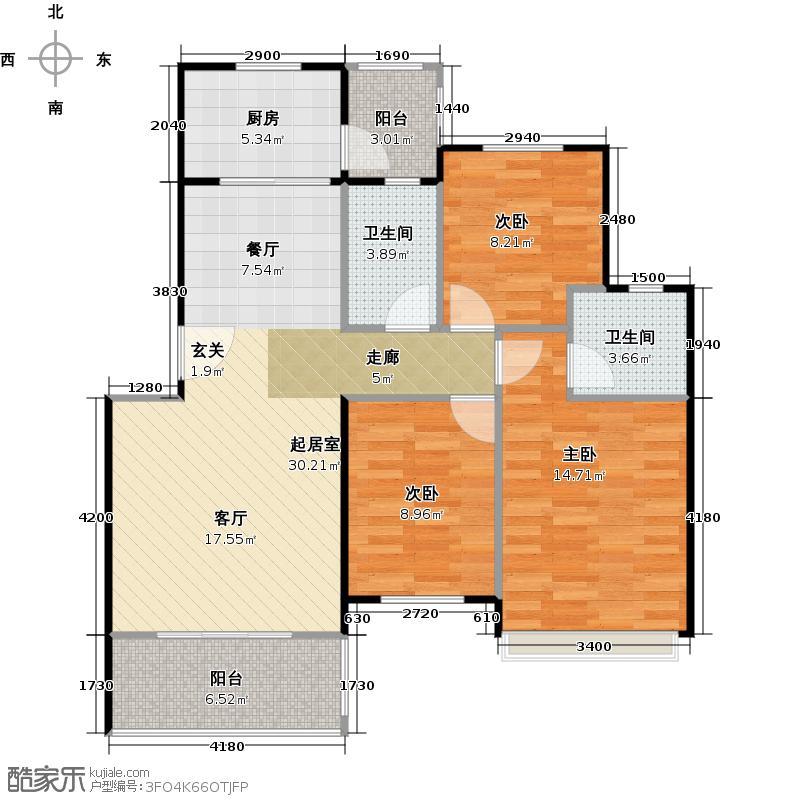 碧桂园生态城101.96㎡J200(2)户型3室2厅2卫
