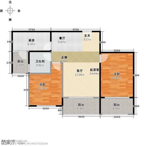 碧桂园生态城2室2厅1卫0厨86.00㎡户型图