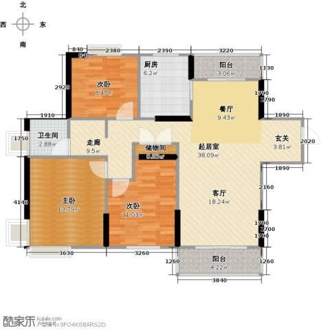 太湖国际社区3室2厅1卫0厨118.00㎡户型图