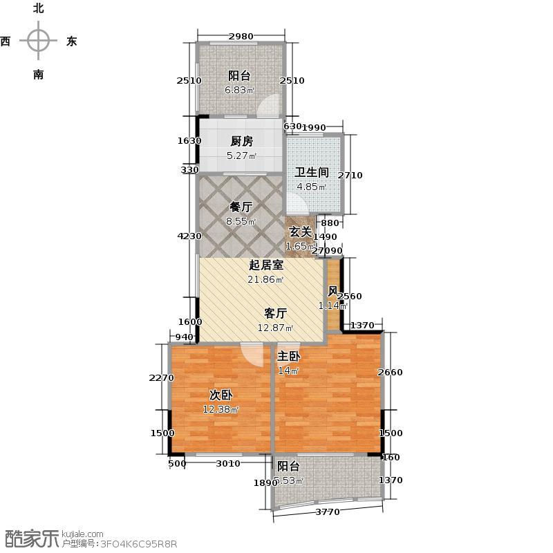 泊金湾77.00㎡五号楼中间套户型2室1厅1卫