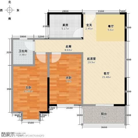 名湖豪庭2室2厅1卫0厨88.00㎡户型图