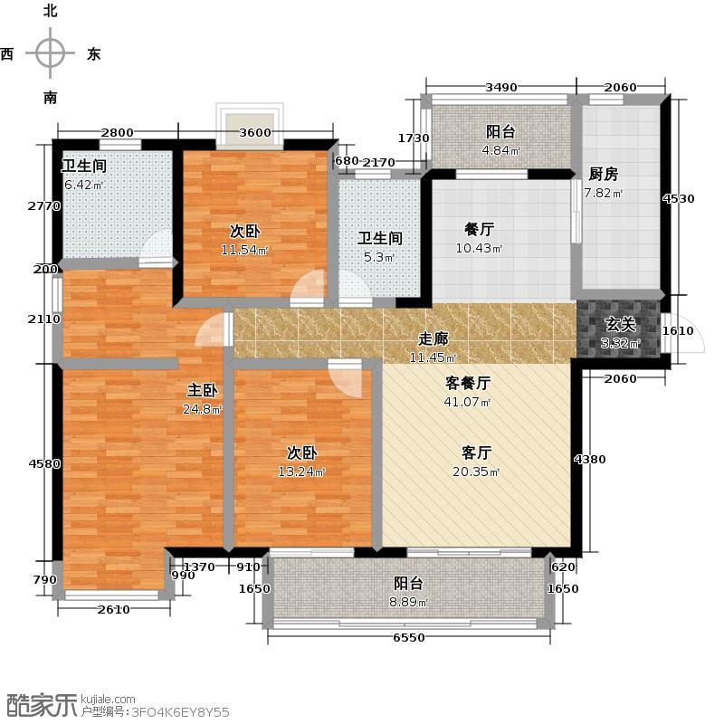 宝龙城市广场133.00㎡6号楼3户型3室2厅2卫