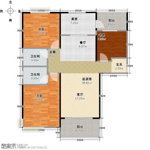 碧桂园生态城3室2厅1卫0厨128.00㎡户型图