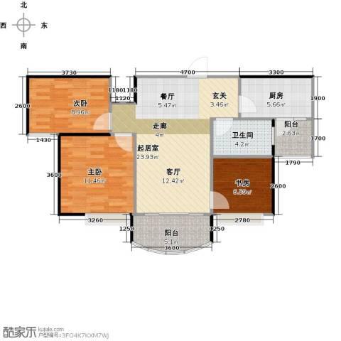 碧桂园生态城3室2厅1卫0厨89.00㎡户型图