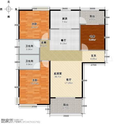 碧桂园生态城3室2厅2卫0厨136.00㎡户型图