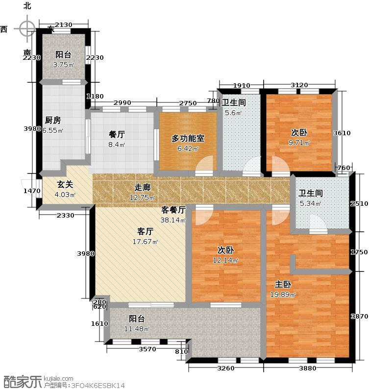 凯悦中心139.00㎡C户型3室2厅2卫