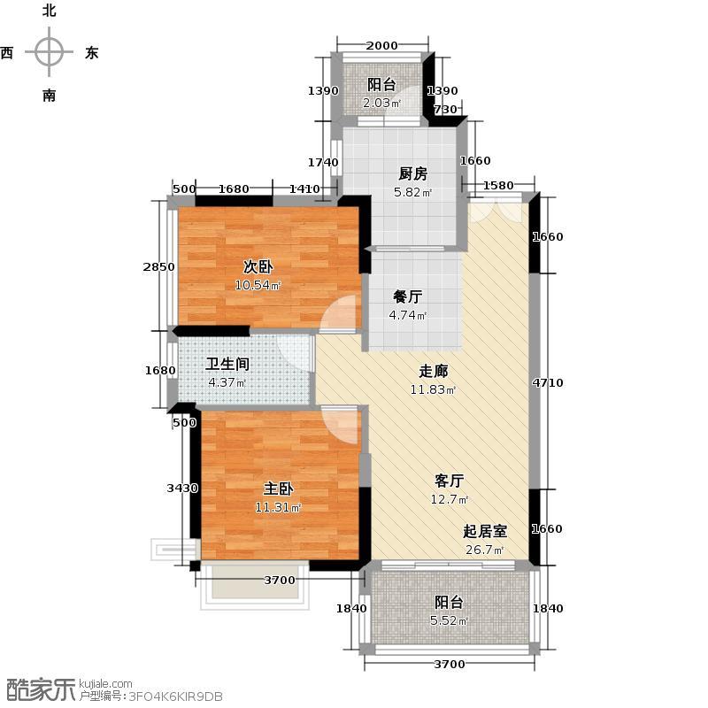 越秀・可逸阳光83.00㎡A-5栋4-10层02单元户型2室2厅1卫