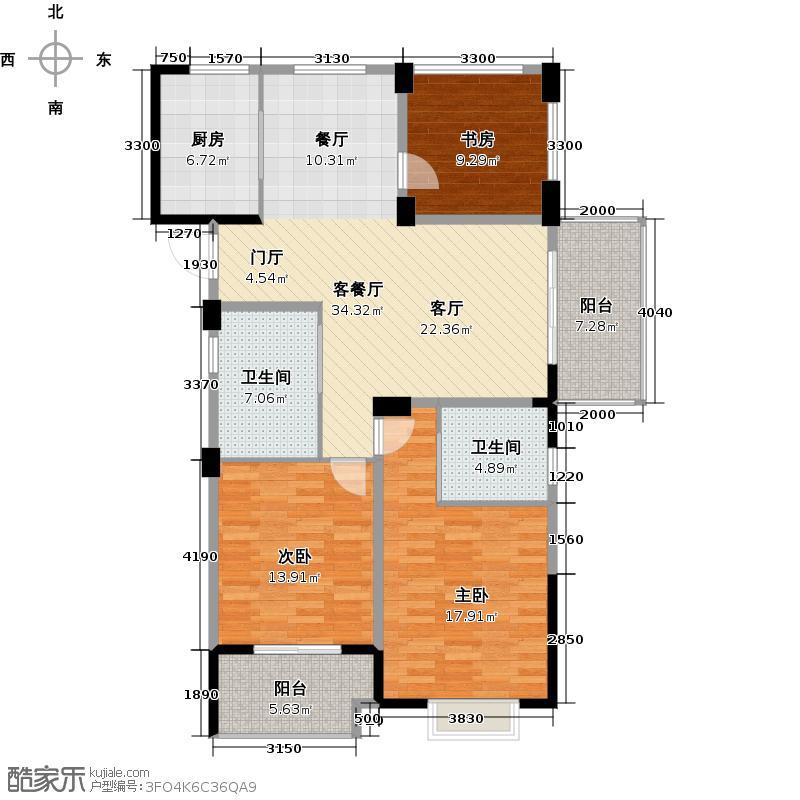 南北乐章119.00㎡O户型3室2厅2卫