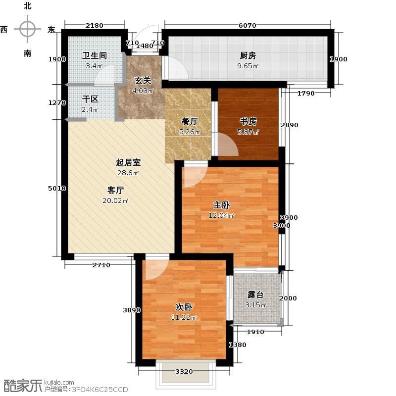 青枫墅园88.00㎡A户型3室