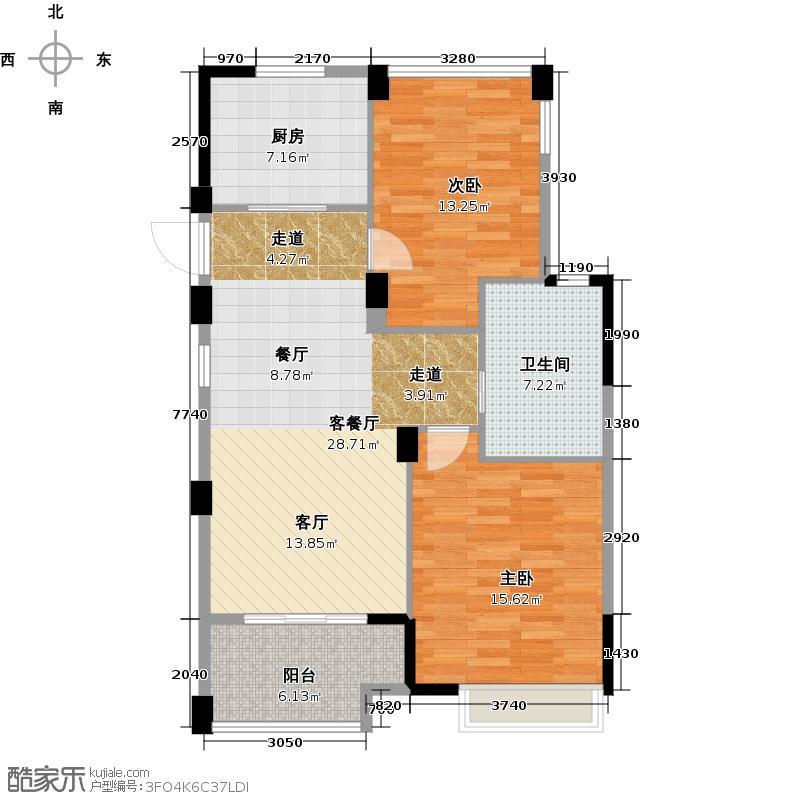 南北乐章86.00㎡N户型2室2厅1卫