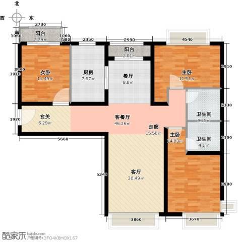 金融街・融汇3室2厅2卫0厨117.00㎡户型图
