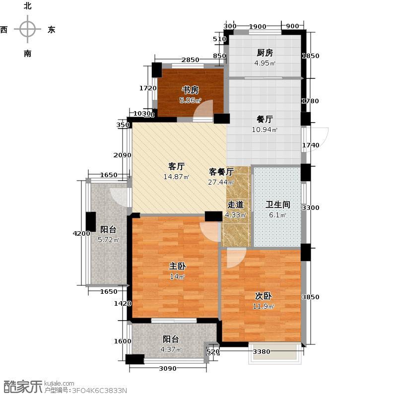南北乐章89.00㎡L奇数层户型3室2厅1卫