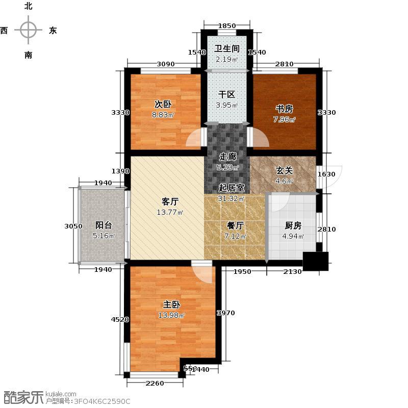 青枫墅园89.00㎡A1/13#奇数层西边套户型3室2厅1卫