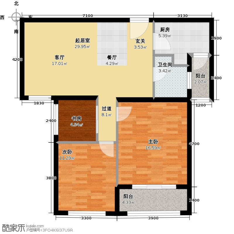 蓝晶绿洲花园91.00㎡D3可变方案2户型2室2厅1卫