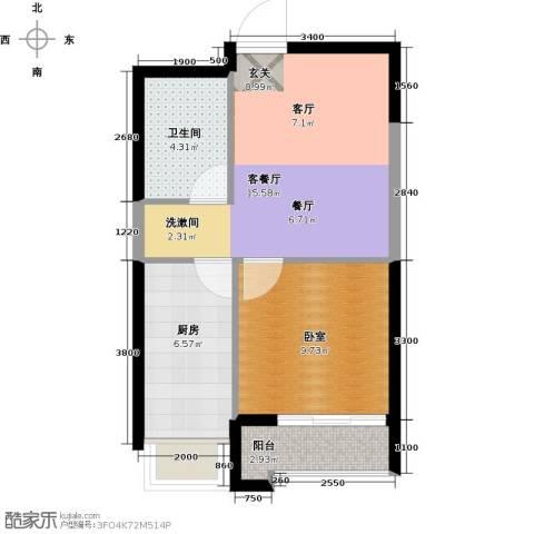 华茂中心1室2厅1卫0厨55.00㎡户型图
