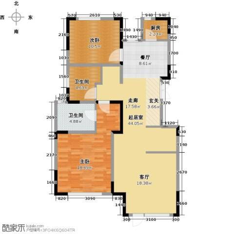 中交上东湾2室2厅2卫0厨118.00㎡户型图