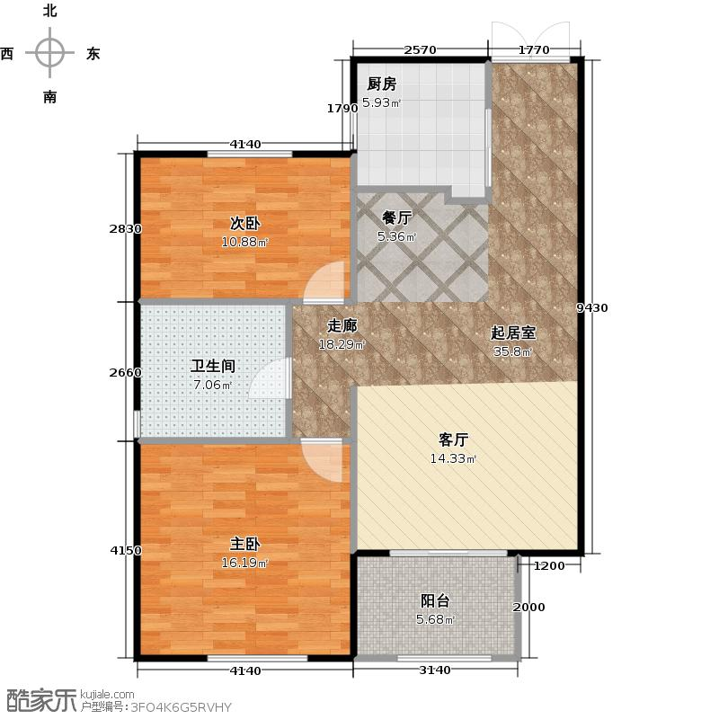 郡原相江公寓87.80㎡B户型2室2厅1卫