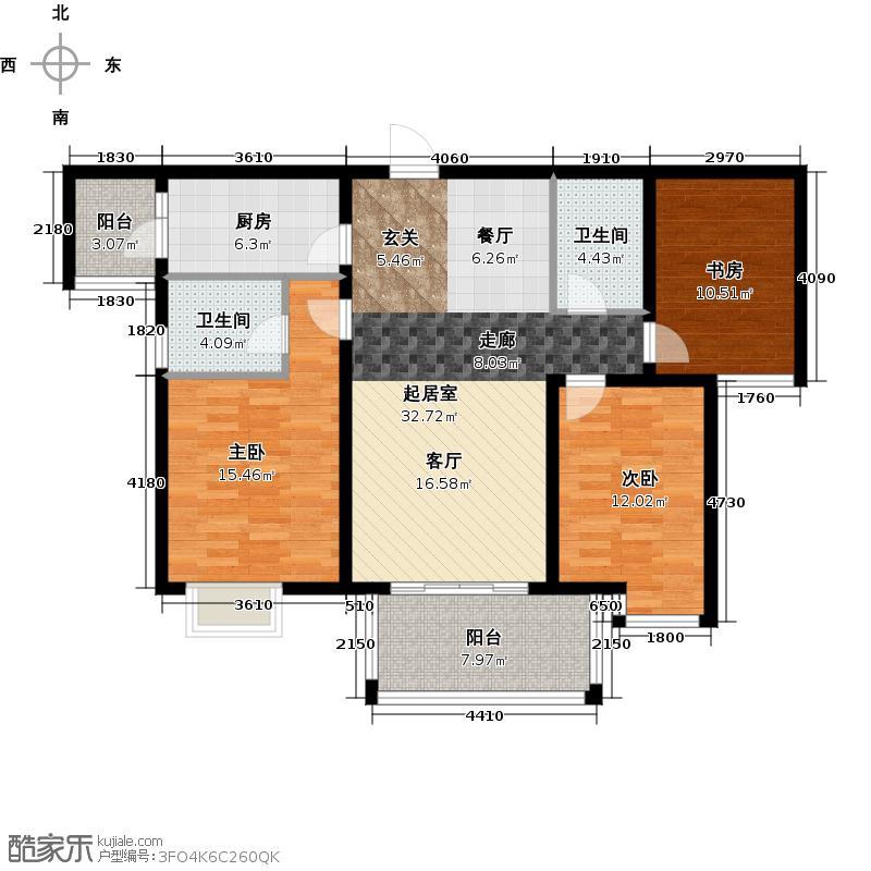 青枫墅园112.00㎡E1/8#奇数层中间套户型3室2厅2卫