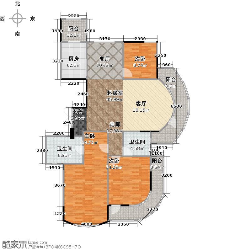 泊金湾139.00㎡一号楼边套户型4室2厅2卫