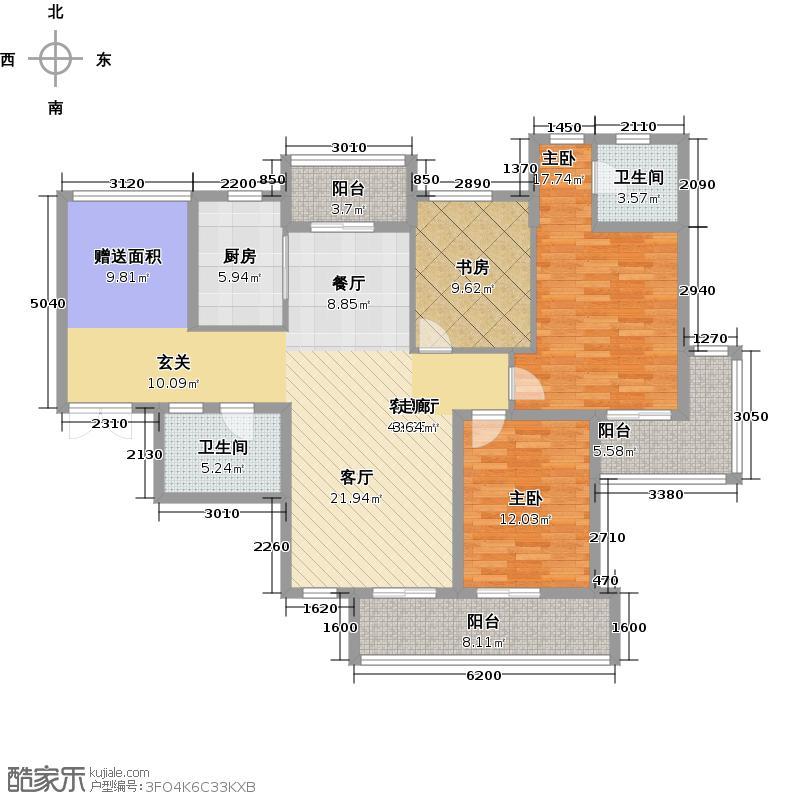 广厦天都城温莎花园138.00㎡4、5号楼G户型3室2厅2卫