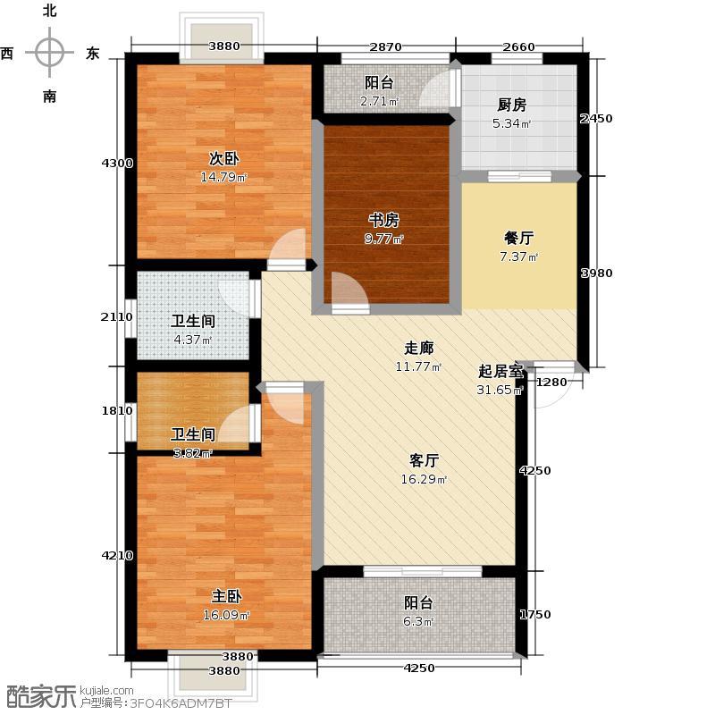 唐公馆104.00㎡一期B1户型3室2厅2卫